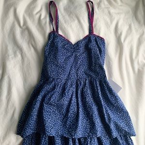 Sweetheart Blue Ruffle Tiered Dress